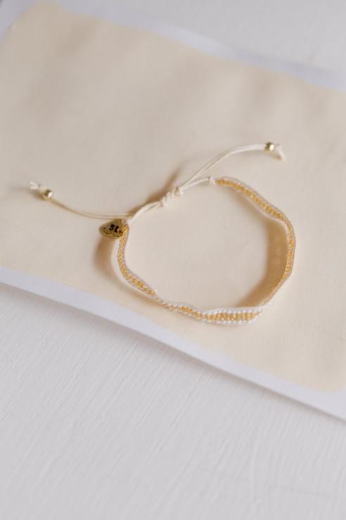 pulsera cenefa blanco dorado