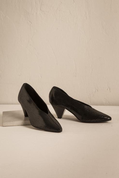 snake print heeled shoes
