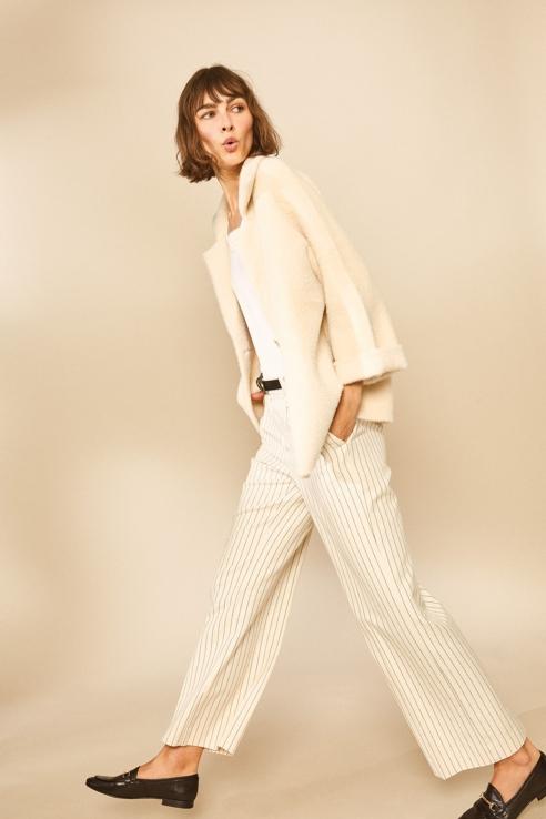 ecru pinstriped trousers