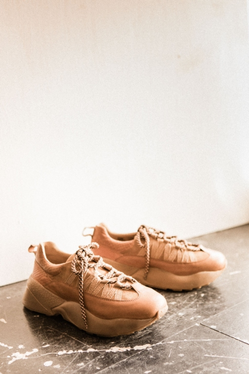 camel suede maxi sole sneakers