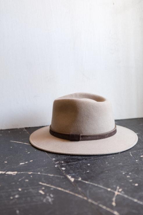 beige dark fedora style hat