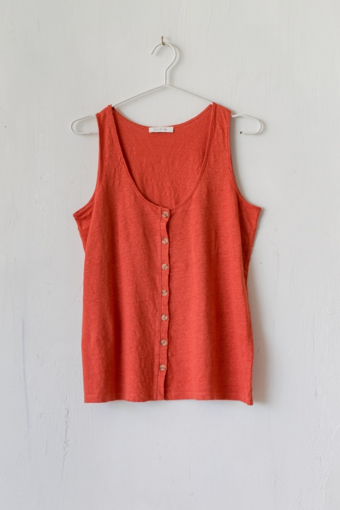 camiseta tirantes lino teja
