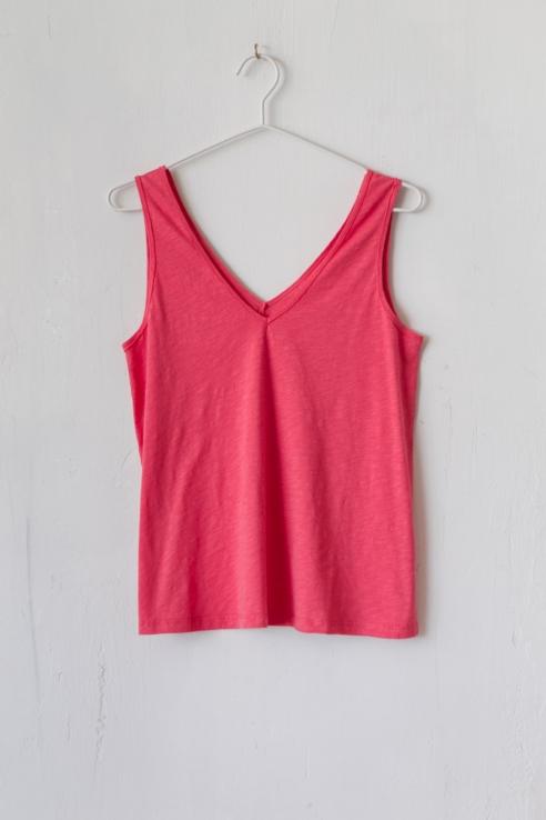 camiseta punto flamé coral