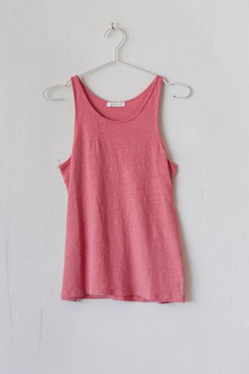 camiseta tirantes lino rosa