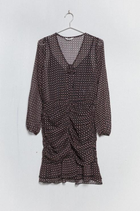vestido corto drapeado