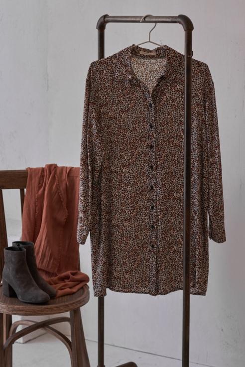 vestido camisero leopardo