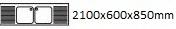 2100X600X850 mm