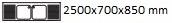 2500X700X850 mm