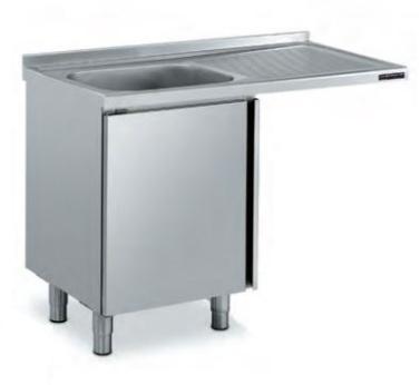 fregadero industrial para alojar lavavasos distform