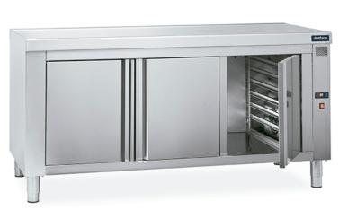 mesa caliente central con guias gastronorm distform