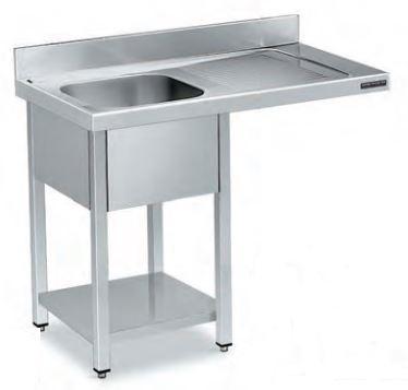 fregadero acero inoxidable para restaurantes con alojamiento para lavavajillas