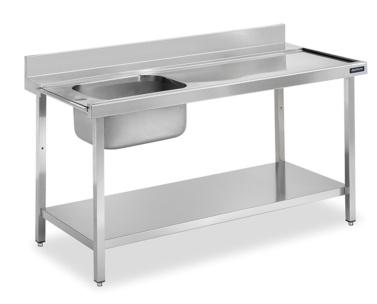 mesa de prelavado con cubeta distform
