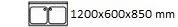 1200X600X850 mm