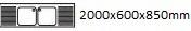 2000X600X850 mm