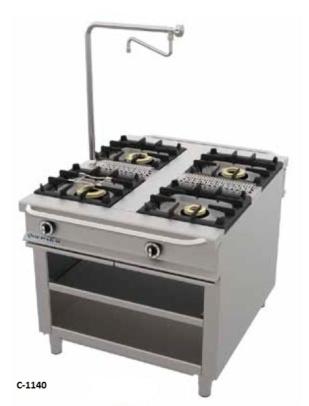 cocina central serie 1100 con soporte repagas