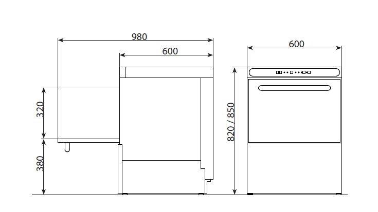 Lavaplatos af 540 edenox para restaurantes hosteleria - Medidas de lavavajillas ...