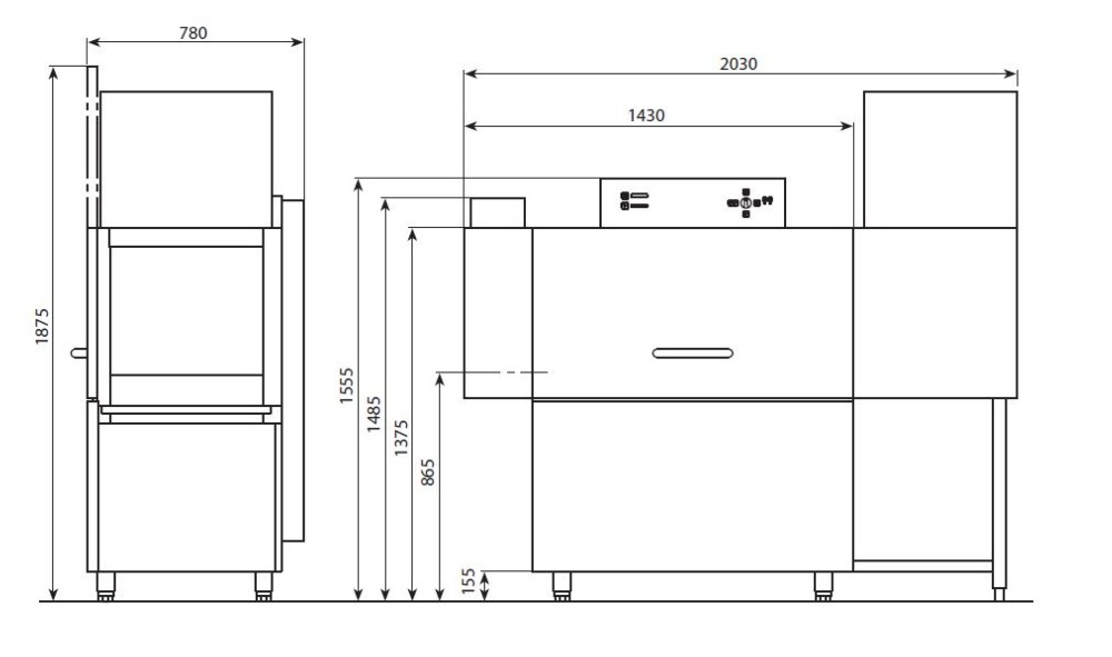 Tunel de lavado vajilla industrial edenox for Medidas de lavavajillas