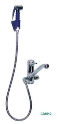 grifo monomando dos aguas con ducha y soporte a la pared hosteleria edenox