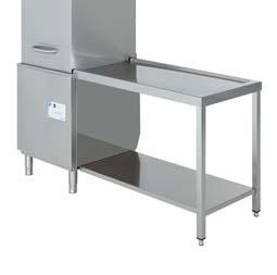 mesa de salida sin peto para lavavajillas de capota edenox