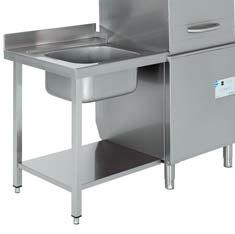 mesa de entrada con fregadero para lavavajillas industrial de capota edenox