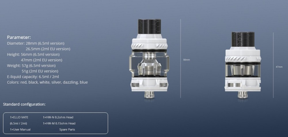 Atomizador Ello Vate 2ml /6.5ml Eleaf - Ítem3