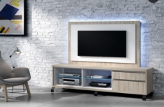 Mueble TV en color Olmo y Blanco Ixia