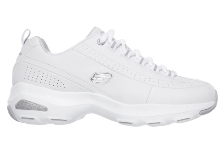 SKECHERS - D'LITE ULTRA-ILLUSIONS WHITE LEATHER / SILVER TRIM