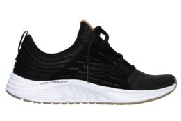 SKECHERS - SKYLINE BLACK MESH / SUEDE / WHITE TRIM