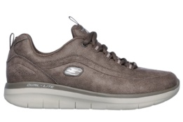 SKECHERS - SYNERGY 2.0 DARK TAUPE MICROLEATHER / TAUPE TRIM