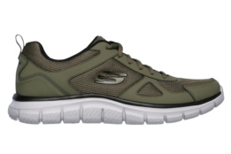 SKECHERS - TRACK- SCLORIC OLIVE LEATHER/MESH/BLACK TRIM