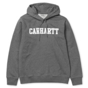 CARHARTT HOODED COLLEGE SWEAT DARK GREY HEATHER / WHITE