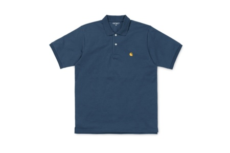 CARHARTT S/S CHASE POLO STONE BLUE/GOLD