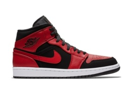 NIKE AIR JORDAN 1 MID BLACK/GYMRED