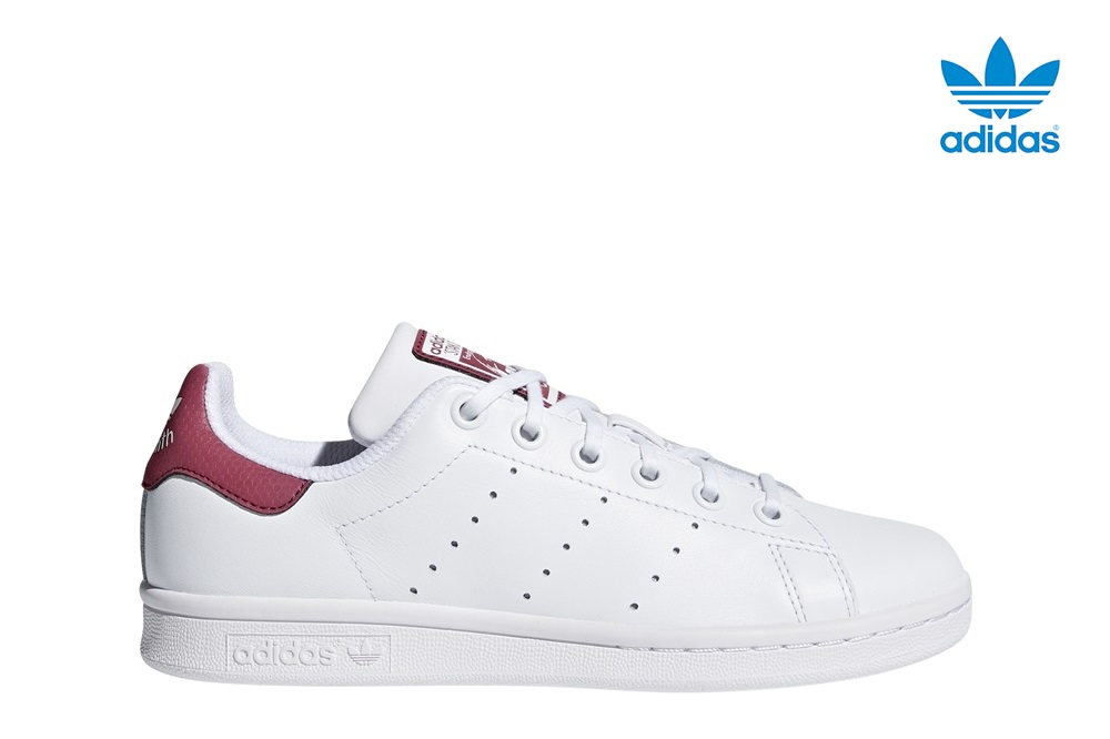 Zapatillas Adidas modelo Stan Smith en color blanco con burdeos para junior-g