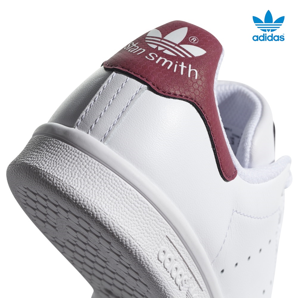 Zapatillas Adidas modelo Stan Smith en color blanco con burdeos para junior-e