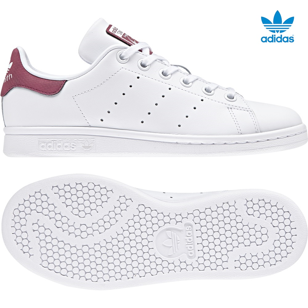 Zapatillas Adidas modelo Stan Smith en color blanco con burdeos para junior-f