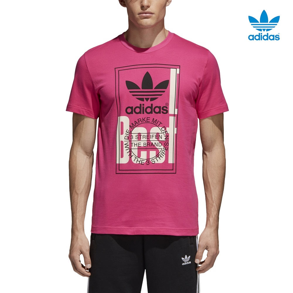 Camiseta ADIDAS modelo Tongue Label en color rosa para hombre-f