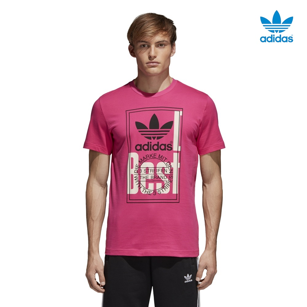 Camiseta ADIDAS modelo Tongue Label en color rosa para hombre-g