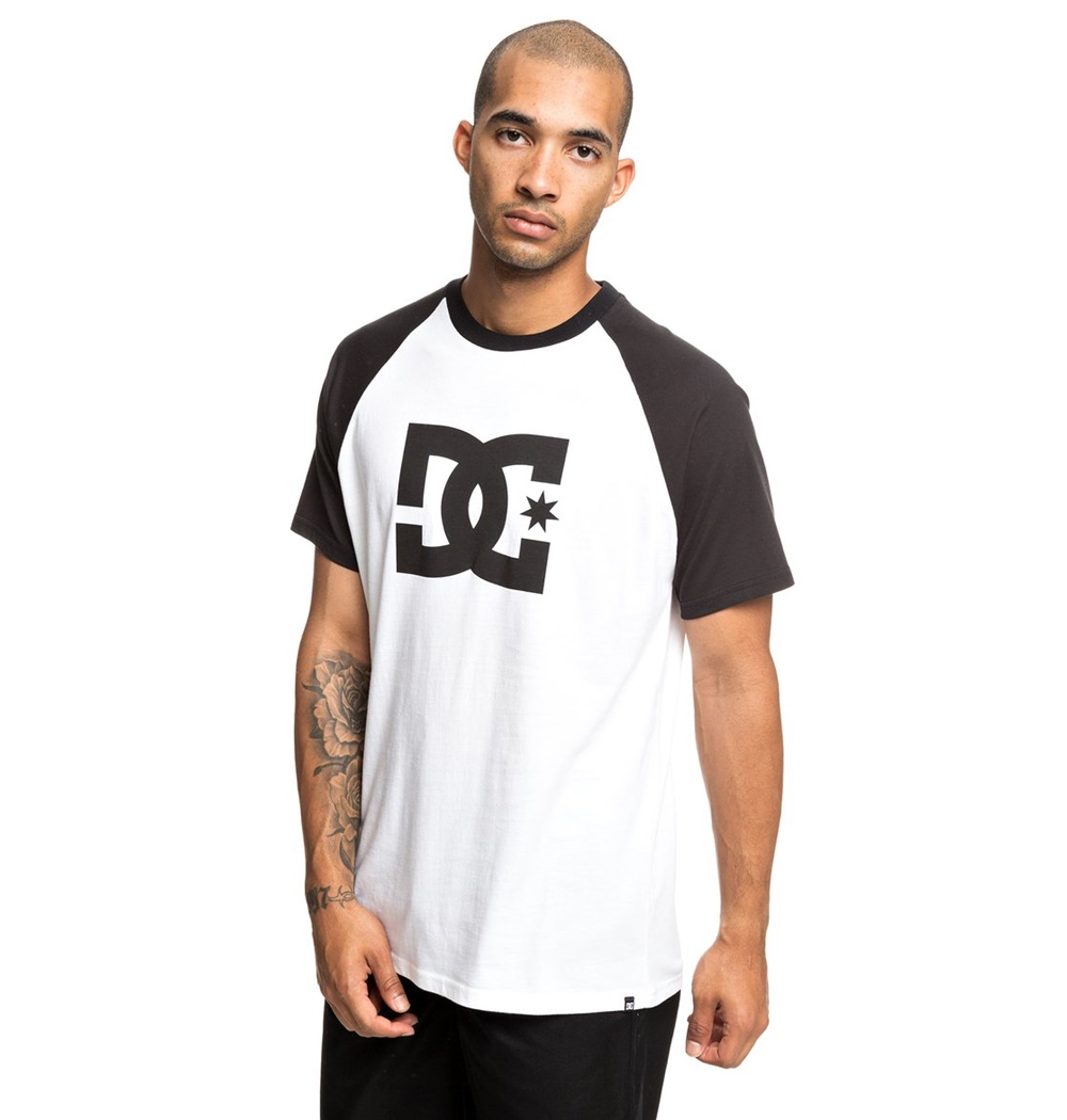DC SHOES STAR SS RAGLAN BLACK/ SNOW WHITE