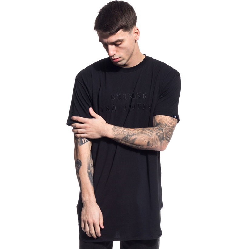 GRIMEY MIST BLUES CURVY LONG TEE BLACK