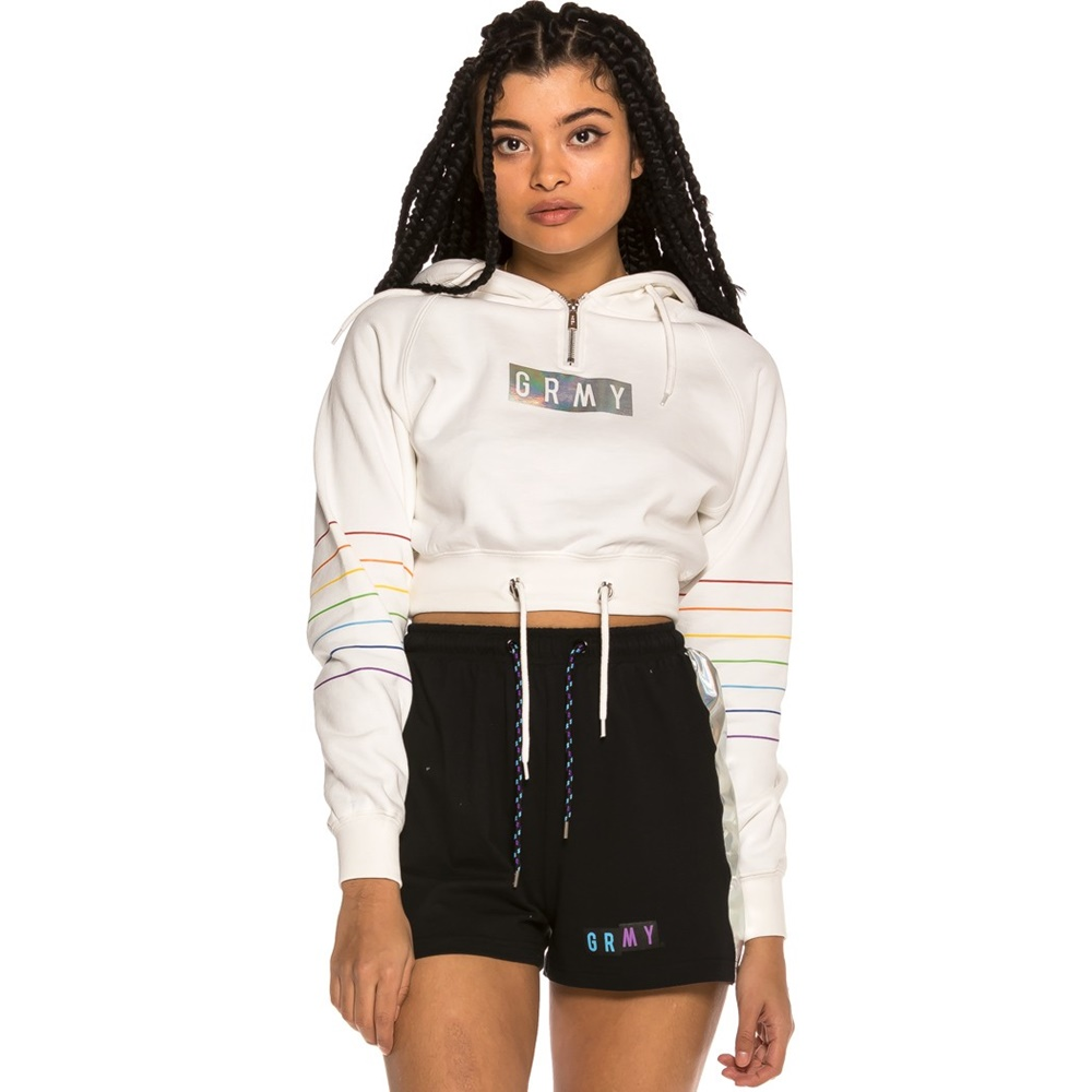 GRIMEY FLUID PLANET CROP ZIP HOODIE WHITE