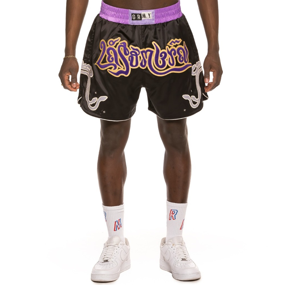 GRIMEY LA SOMBRA BOXING SHORTS BLACK