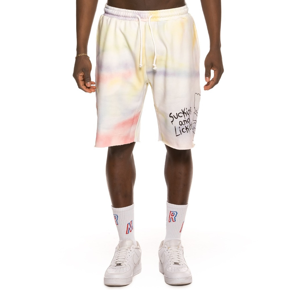 GRIMEY LAUGHING BOY TIE DYE SWEATSHORTS WHITE