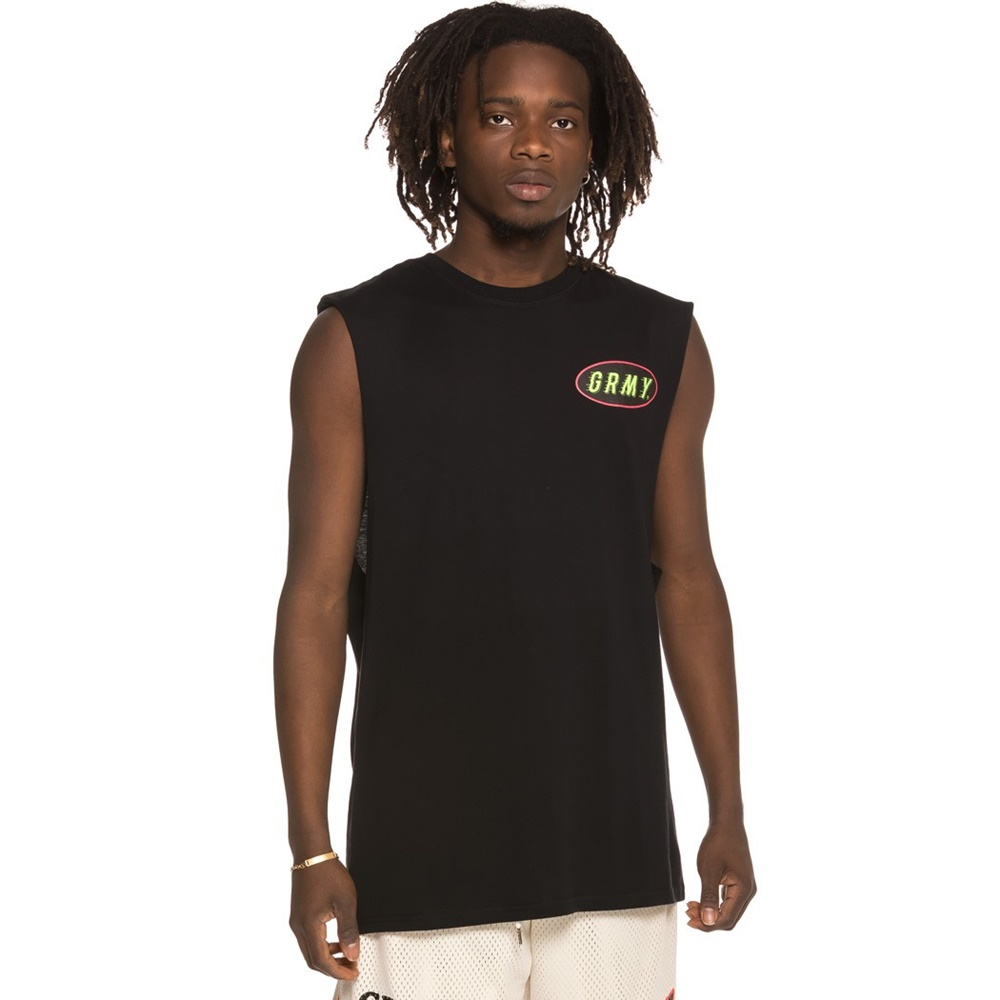 GRIMEY THE COOKY PUSS SLEEVELESS TEE BLACK