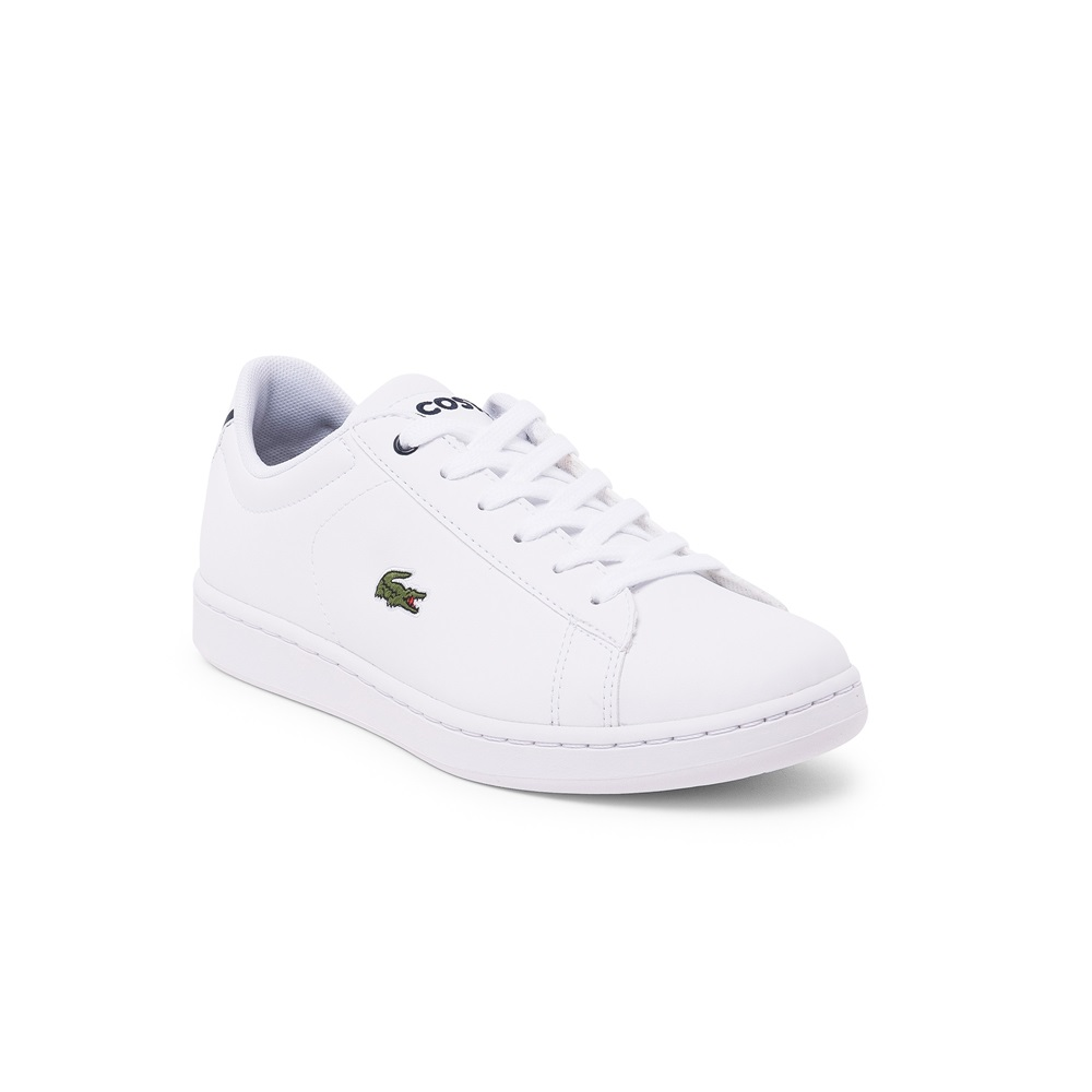 Zapatillas Lacoste modelo Carnaby en color blanco con azul para junior-f