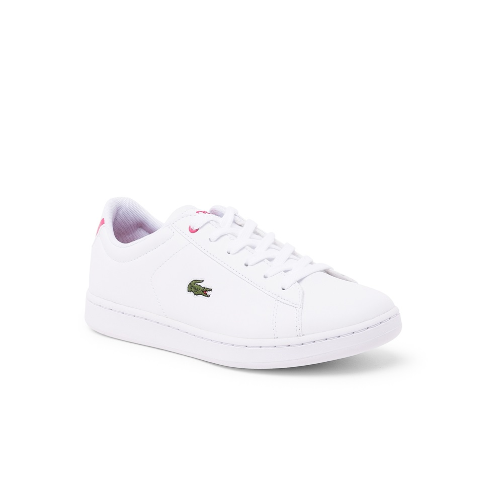 Zapatillas Lacoste modelo Carnaby para junior en color blanco con rosa-e