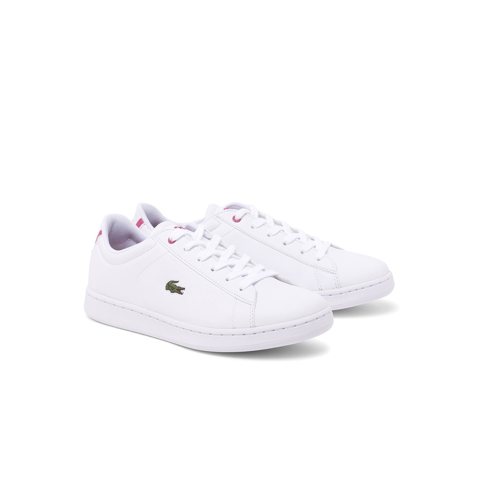 Zapatillas Lacoste modelo Carnaby para junior en color blanco con rosa
