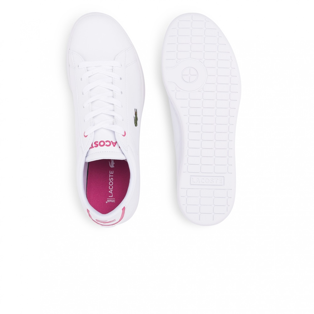 Zapatillas Lacoste modelo Carnaby para junior en color blanco con rosa-b