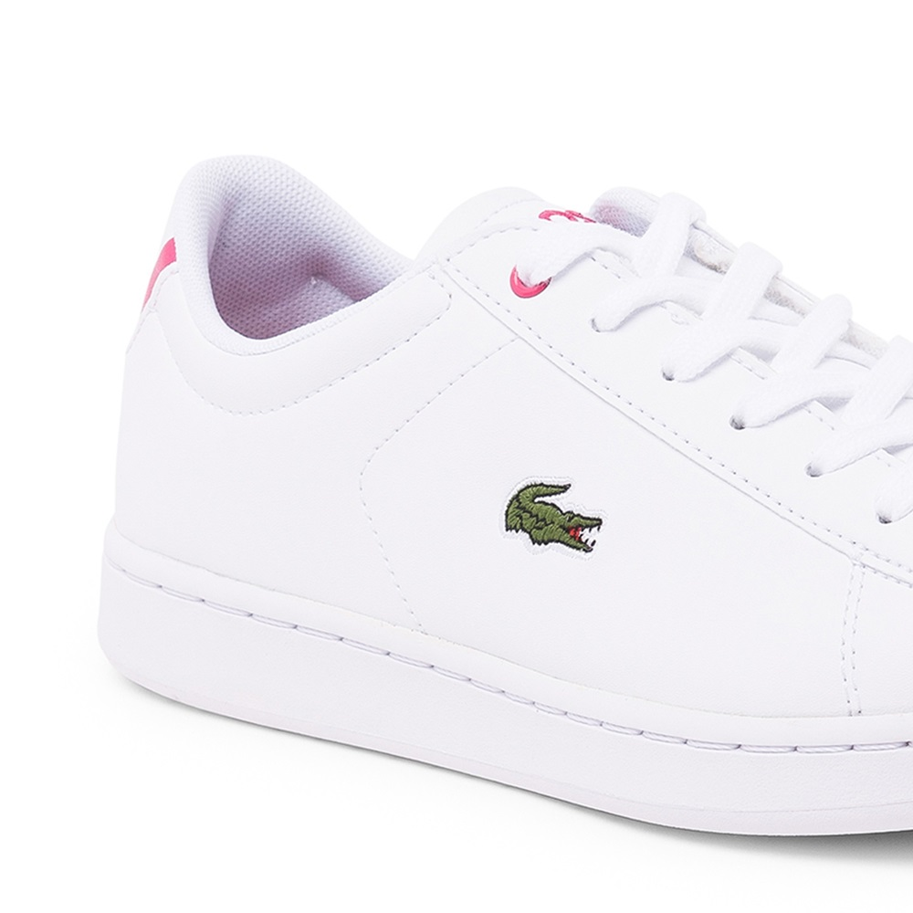 Zapatillas Lacoste modelo Carnaby para junior en color blanco con rosa-d