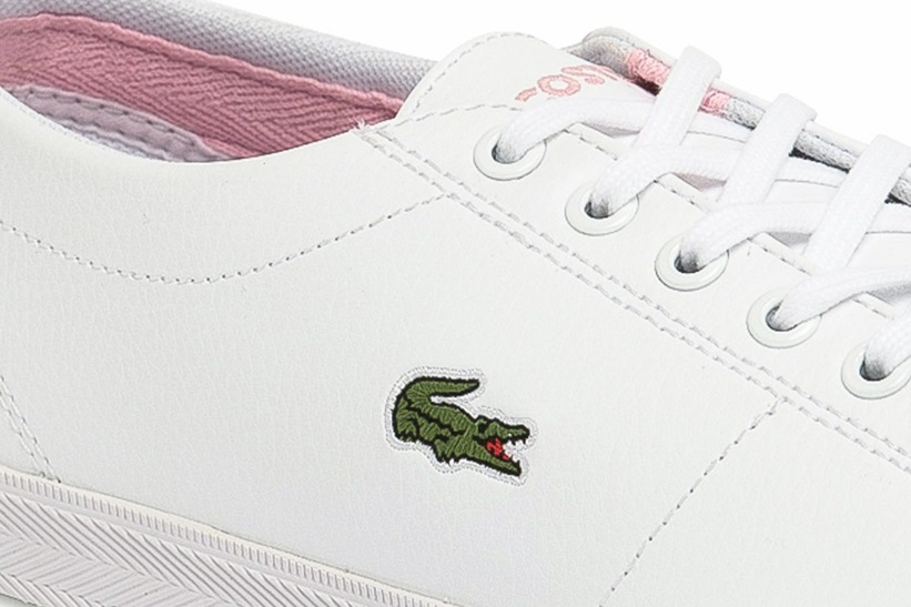 Zapatillas Lacoste modelo Riberac en color blanco con rosa para junior-b